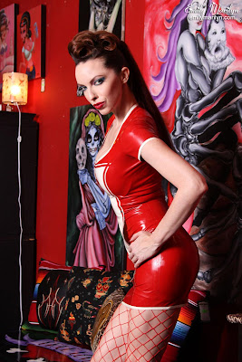Emily Marilyn Red Rubber Dominatrix