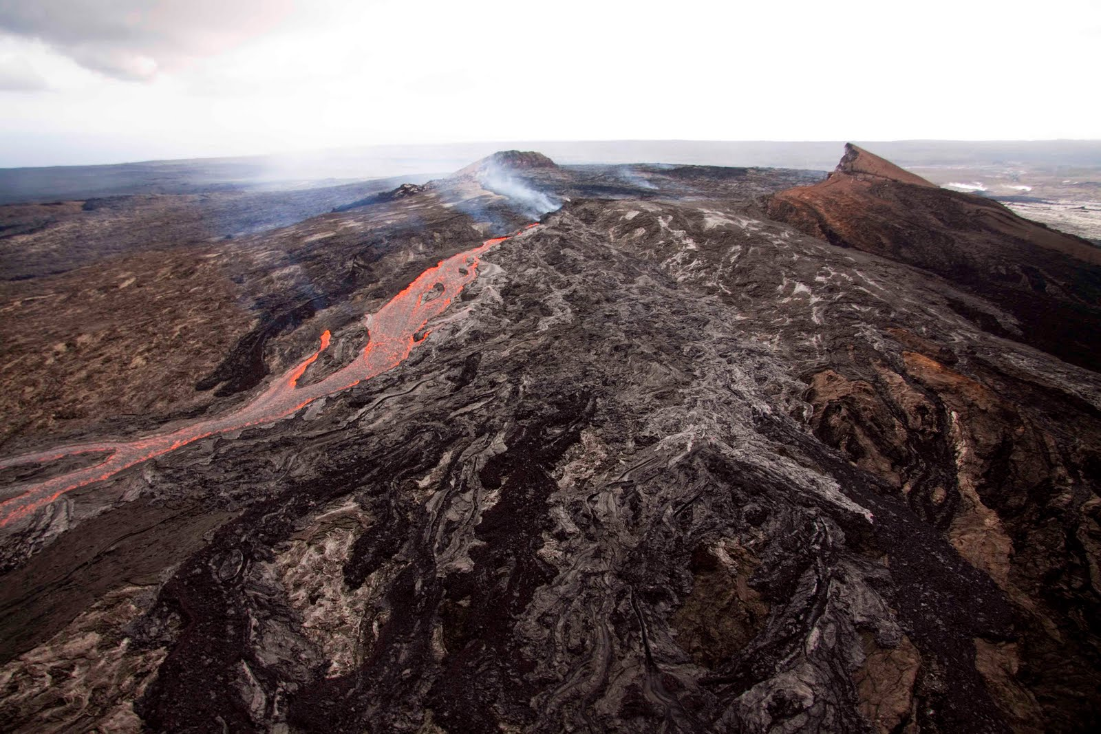 Lava Rivers Pour Down Puu Oos Flanks