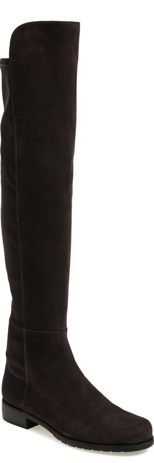 Stuart Weitzman '5050' Over the Knee Leather Boot Anthracite Suede