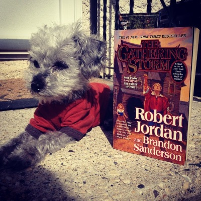 Murchie lays on a concrete stoop. He wears an orange t-shirt with brown trim. Propped up beside him is a paperback copy of The Gathering Storm. Its cover features a white man in a red coat raising one hand to the sky while a white woman in a blue bodice and brown skirt watches from some distance behind.