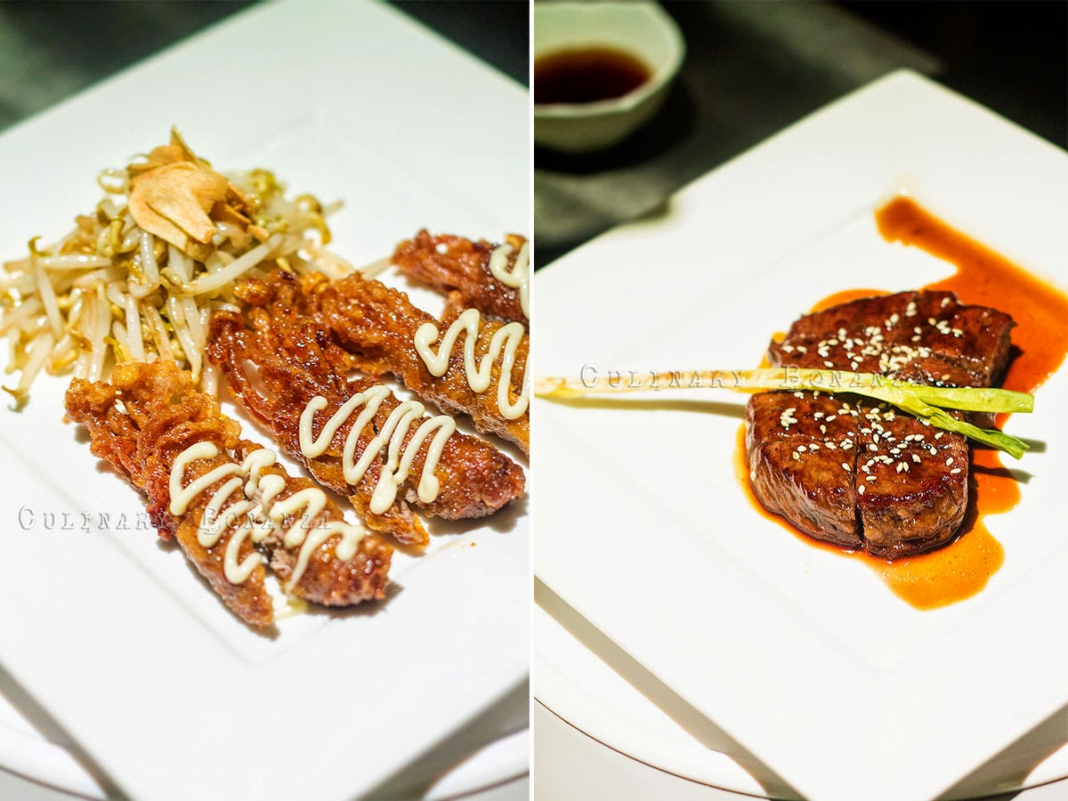 Left: Special Gyu Enoki Maki | Right: Spicy Beef Tenderloin (Wagyu)