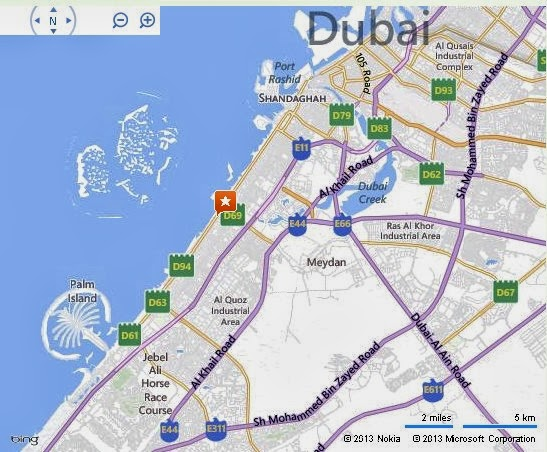 Detail pavilion dive centre dubai location map for Map of dubai hotels