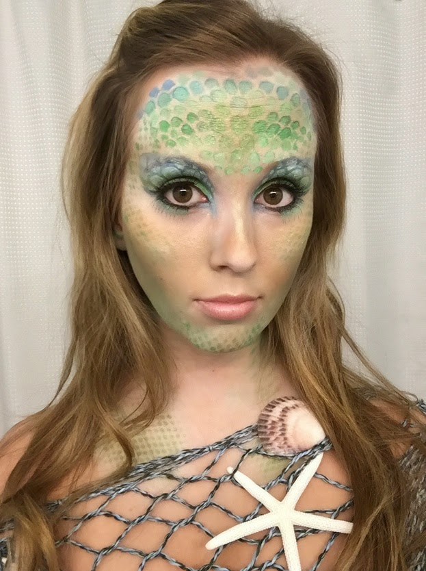 Mermaid Makeup, face paint, blue and green