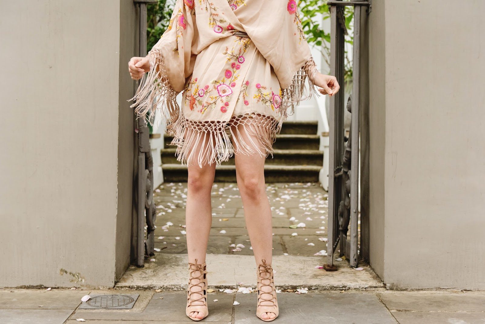 embellished kiono, festival, lace up heels, parisian heels, office shoes, embellished, embroidery, lace up heels, nude heels, office shoes, fringe, tassels