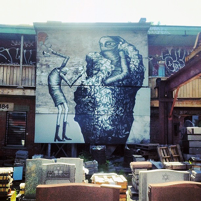 Phlegm new mural in montreal canada streetartnews for Art mural montreal