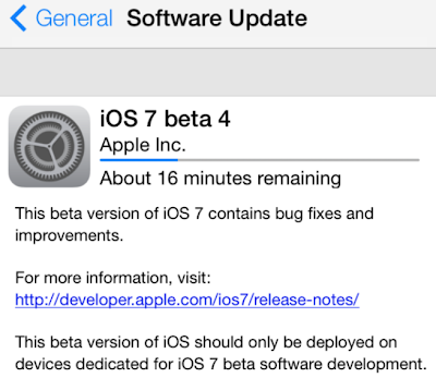 iOS 7 Beta 4 Update