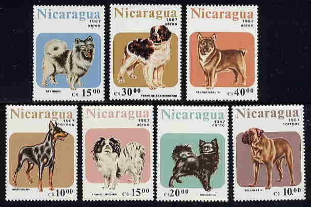 1987年ニカラグア共和国 キースホンド セント・バーナード West Gotha Spitz(スピッツ) ドーベルマン 狆 チワワ ブル・マスティフの切手