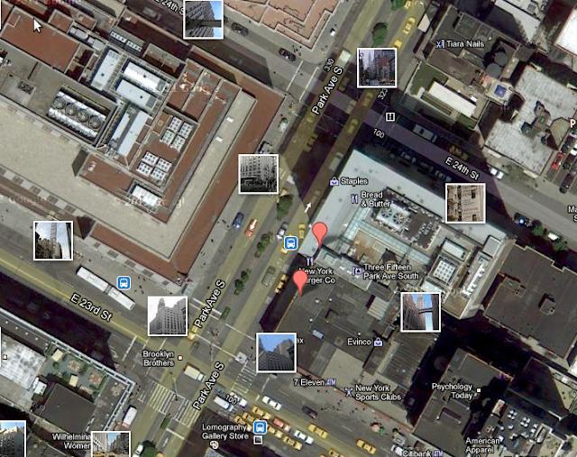 Vista da 315 Park Avenue South feito com o Google Maps.