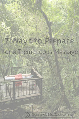Title text on wooded background - 7 ways to prepare for a massage