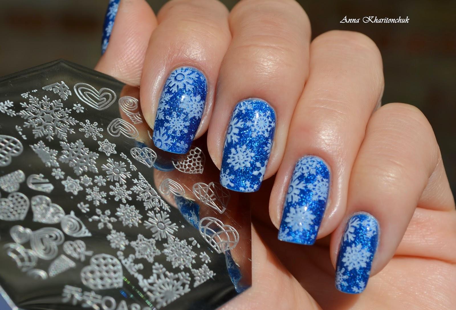"""Конкурсный маникюр """"Снежность"""", стемпинг, Skittlette Manicure"""