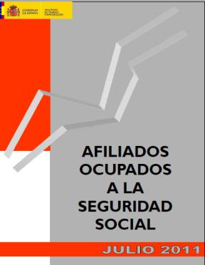 Datos afiliación a la Seguridad social  Julio 2011