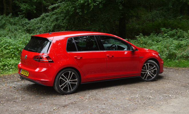 Volkswagen Golf 7 GTD in red, rear view
