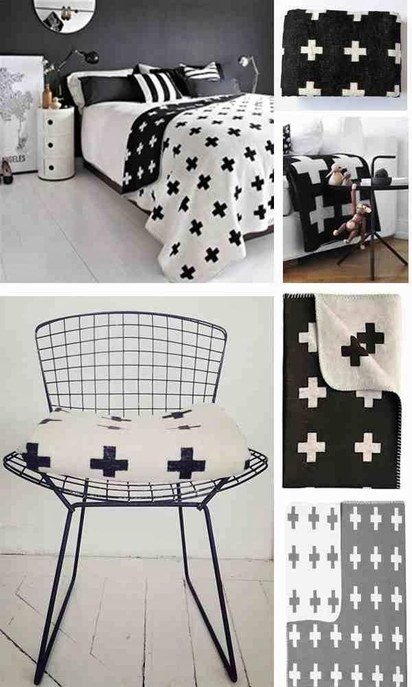 Skandynawskie wnętrza, monochromatyczne wnętrza, druciane krzesło, Croos motif Pia Wallen, koc z krzyżykiem
