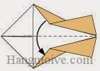 Bước 10: Gấp đôi tờ giấy lại theo chiều từ trên xuống dưới.