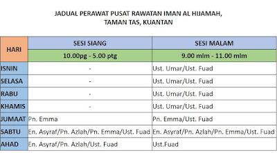 Jadual Bekam, Urut,Refleksologi dan Rawatan Islam di Putrajaya & Pusat Rawatan Iman Al Hijamah (PRIA) Taman Tas Kuantan