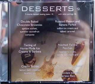 D.B.A. Dessert Menu