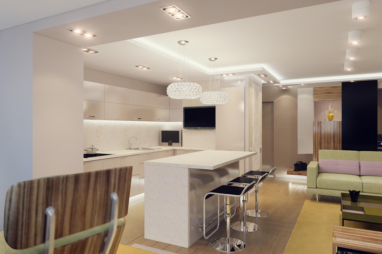 Дизайн недорогой кухни гостиной