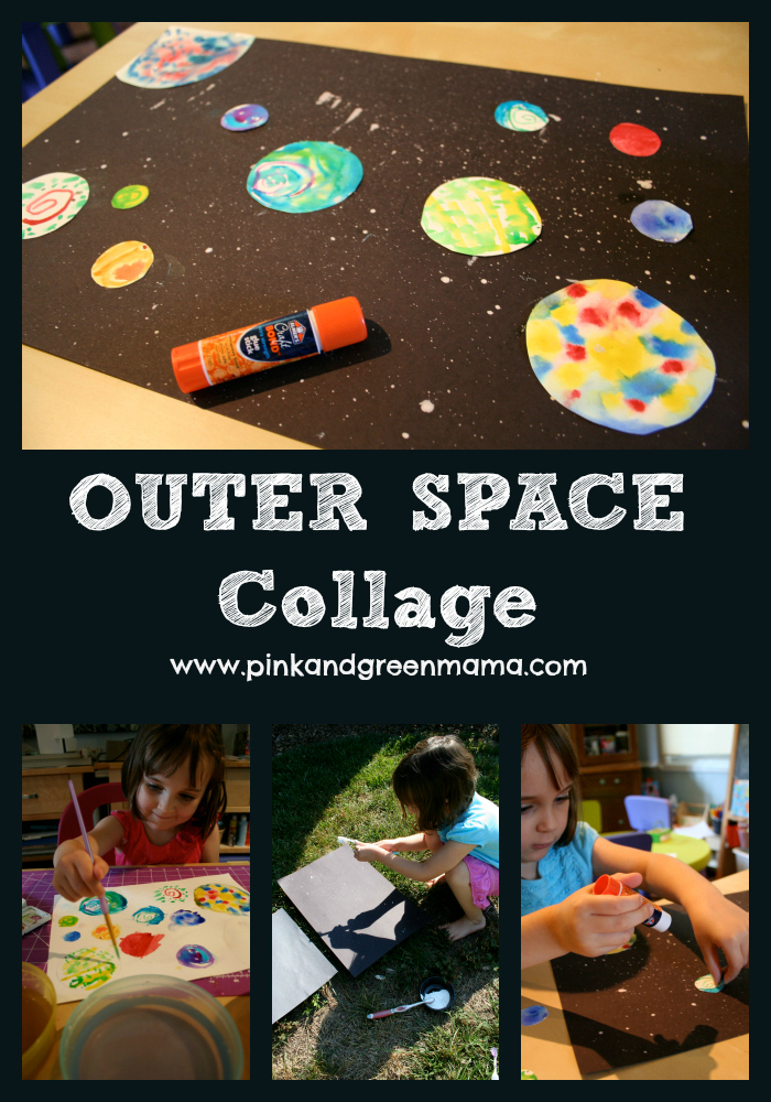 pink and green mama outer space themed sensory box