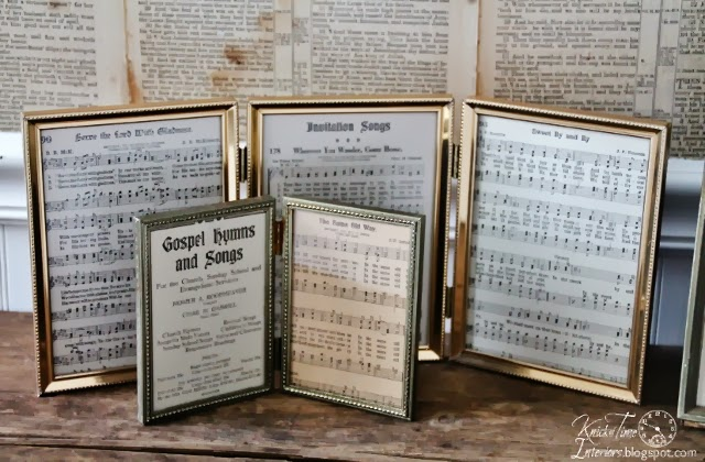Repurposed Antique Hymn Book Pages in Gold Vintage Frames via Knick of Time