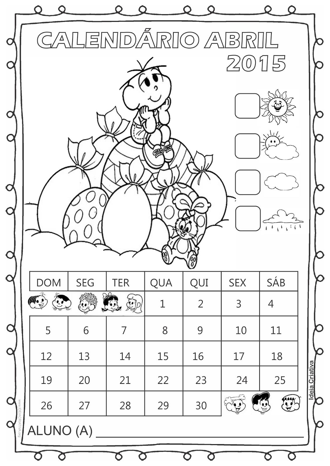 Calendário Turma da Mônica 2015 para Imprimir Grátis Abril Páscoa com numeração