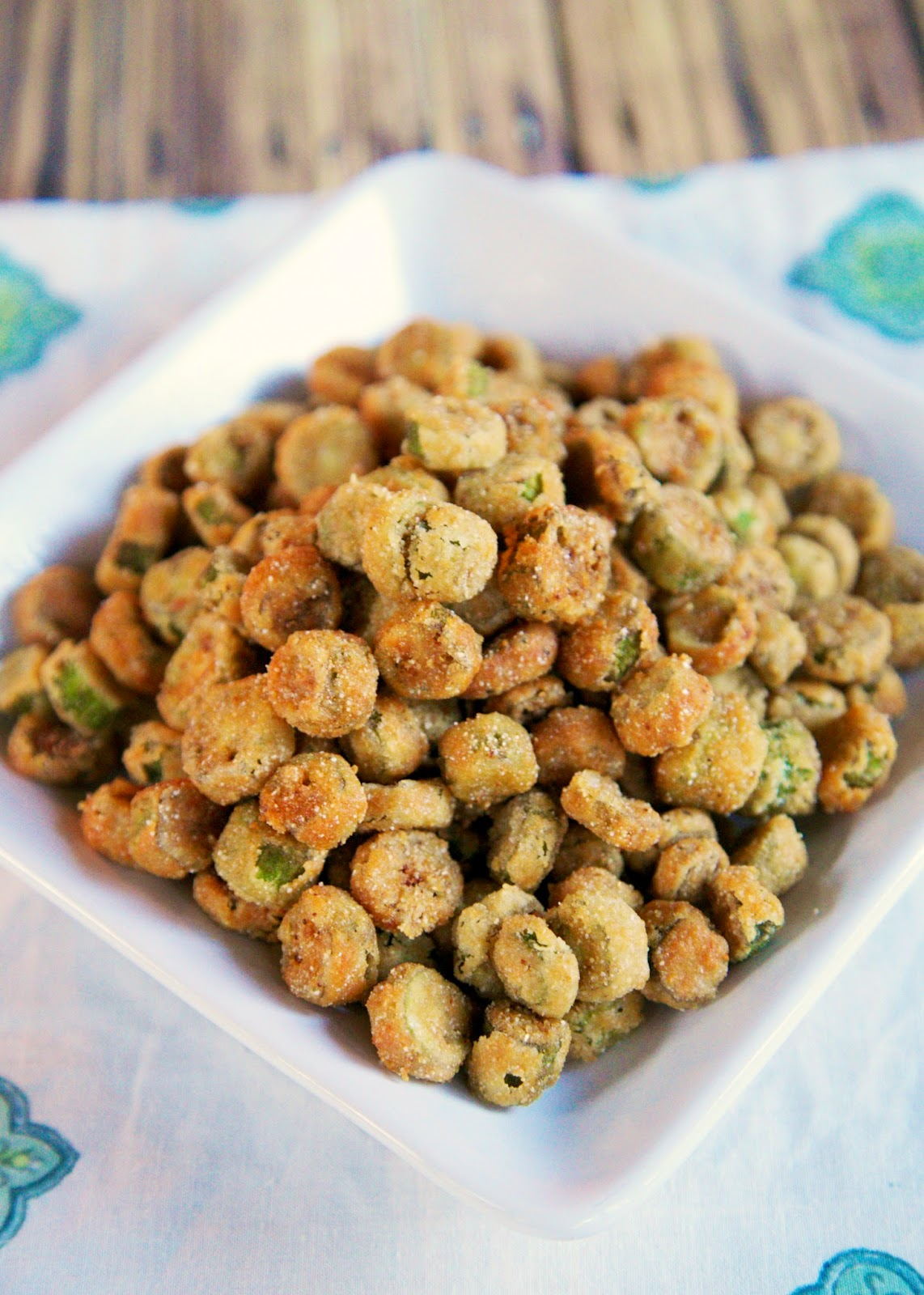 2-Ingredient Fried Okra - my favorite vegetable! SO good. I can eat the whole batch of this yummy, crunchy okra. My absolute fav!