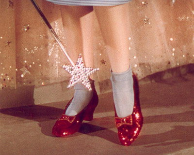 Judy Garland's shoes in Wizard of Oz