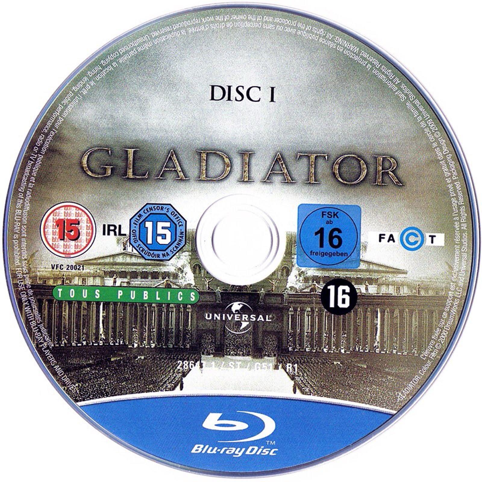Gladiator Blu-ray Dvd Label Art