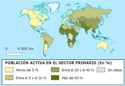 mapa actividades primarias del mundo