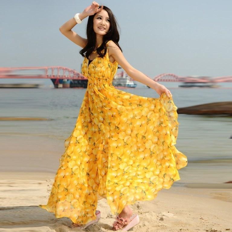 Desain Baju Pantai Panjang Warna Kuning