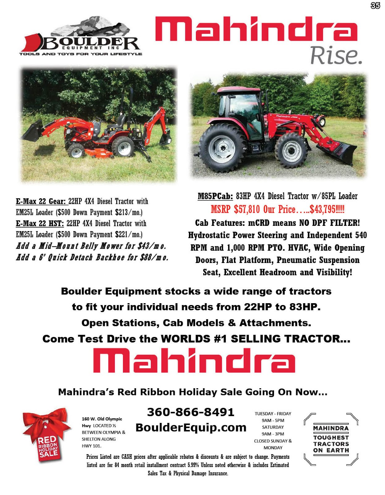 Boulder Equipment Has Mahindra Tractors On Sale!!