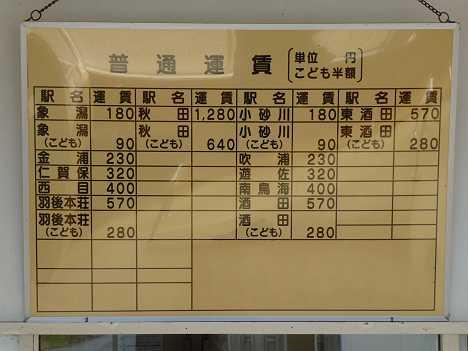 JR東日本 上浜駅 運賃表