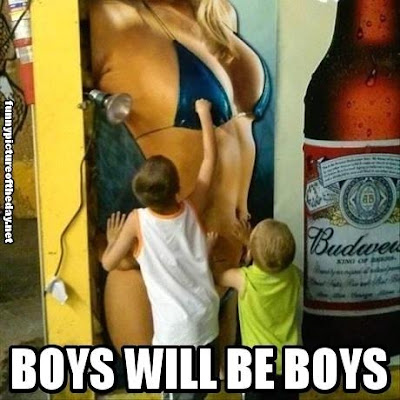 Boys Will Be Boys Funny Kids Playing With Budweiser Lady Painting