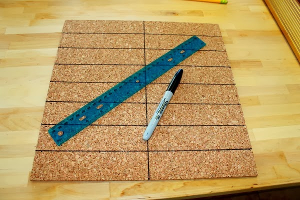 easy herring bone modern cork board #bulletin_board #office #clever_nest