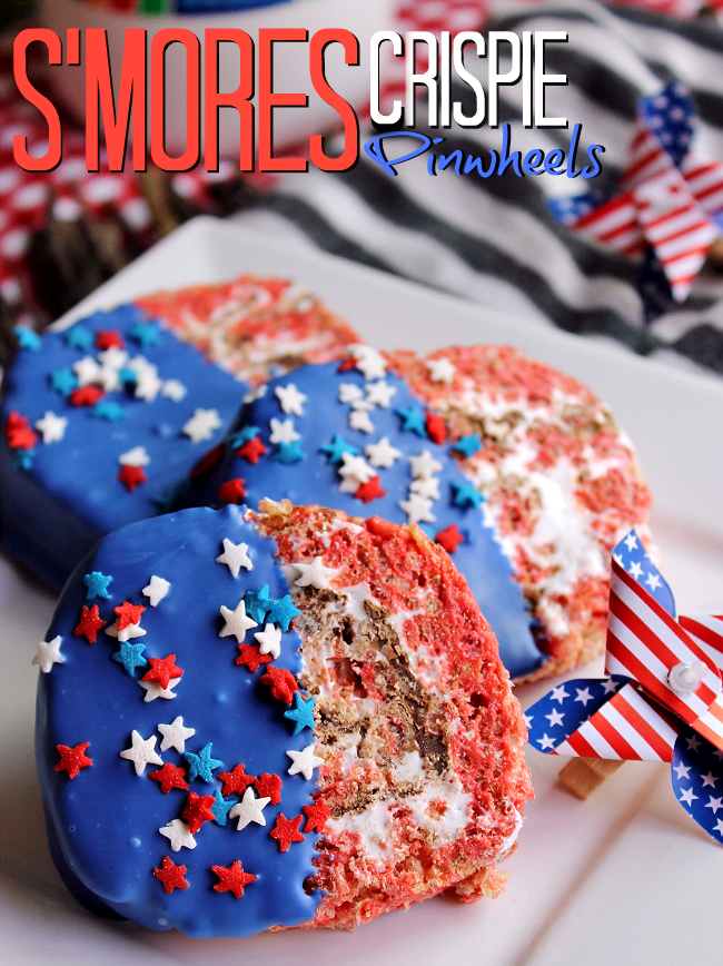 #LetsMakeSmores in 10 minutes- S'mores Crispie Pinwheels, the perfect indoor recipe for snacking on S'mores anytime. Grab your Jet-Puffed Marshmallows, Hershey's Milk Chocolate bars, and Honey Maid Graham Squares at Walmart today then check out this delicious recipe for Patriotic S'more's Crispie Pinwheels! #ad
