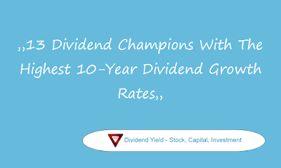 13 Dividend Champions With The Highest 10-Year Dividend Growth Rates