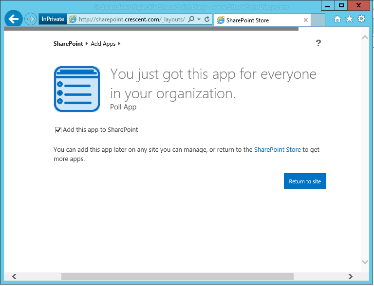 How to add app from SharePoint store