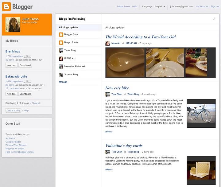 Vorschau neues Design Blogger Dashboard