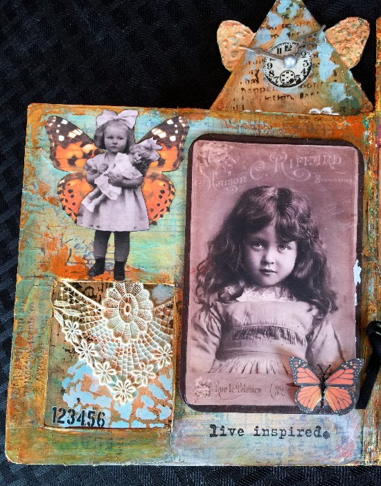 Altered mixed media Children's book using DecoArt products-closeup page 6