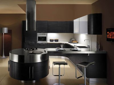 contemporary kitchen design with brown walls and black cabinets