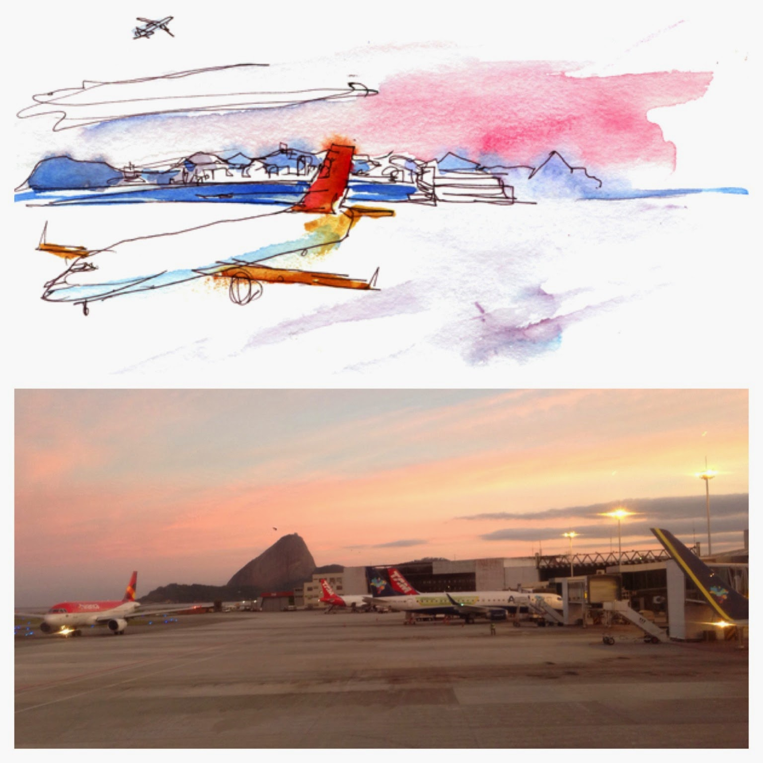 "Shiho Nakaza Brazil watercolor sketch sketching ""Rio de Janeiro"" airport ""Santos Dumont"""
