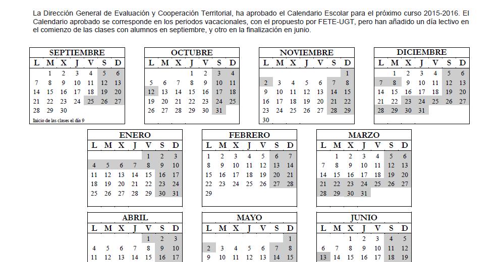 Calendario escolar definitivo curso 2015 2016 for Concurso docentes exterior