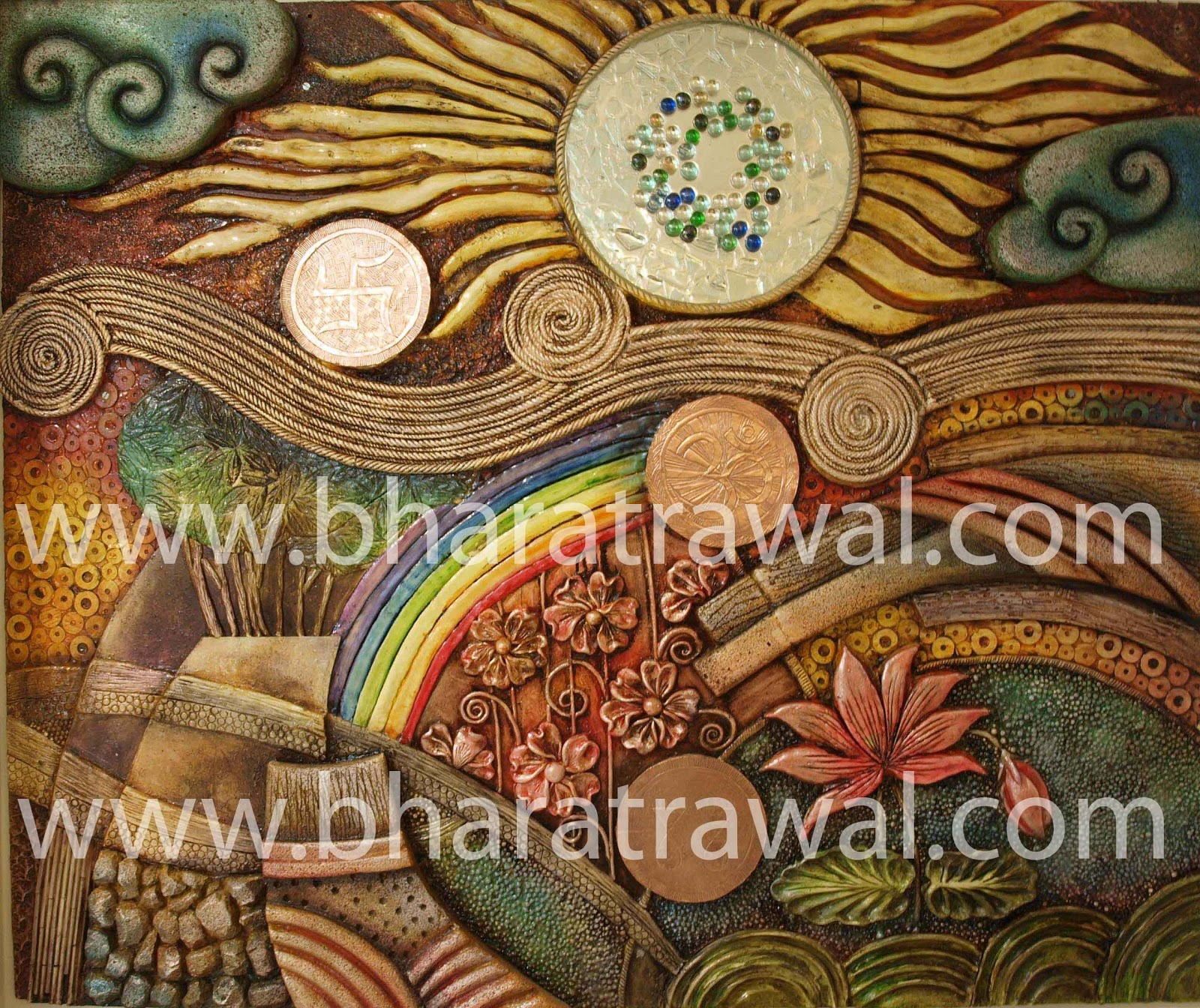 Mural art by muralguru bharat rawal december 2012 for Clay mural designs
