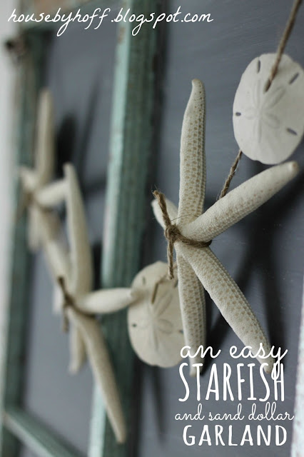 Starfish and Sandollar Garland  (10 Summer Seashell Decor Ideas)   #decor #decorating #seashells #beach #summer #sea
