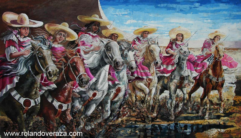 Painting of an escaramuza team riding thier horses