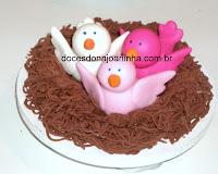 Ninho de fios de chocolate decorado com pássaros