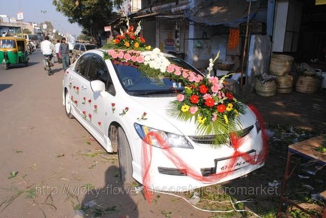 Flower Wedding Car Decorations : Vicky flower decorators car decoration