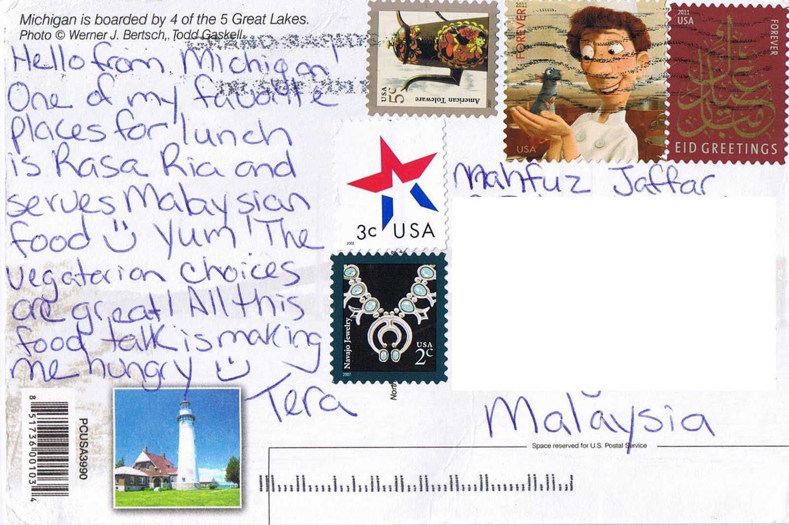 Hello from michigan postcrossing malaysia my postcard collections michigan is the only state to consist entirely of two peninsulas the lower peninsula to which the name michigan was originally applied is often noted to m4hsunfo