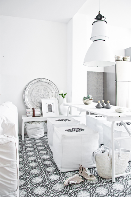 white living room with black &amp; white moroccan tiles
