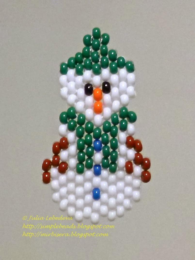 Снеговик из бисера для начинающих.