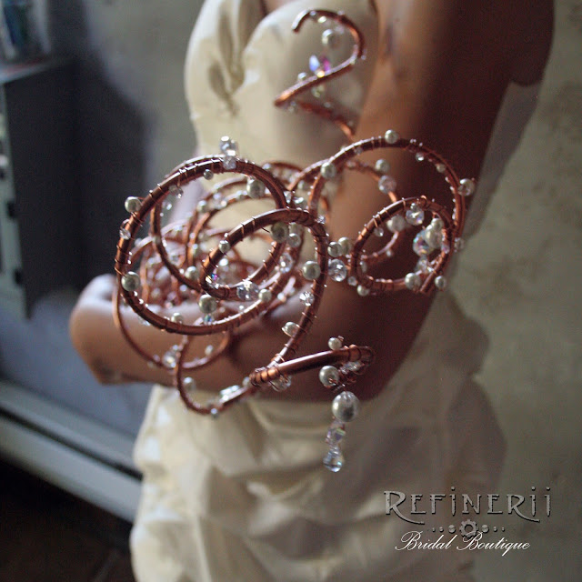 Copper and crystal steampunk wedding bouquet
